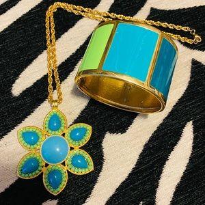 Banana Republic necklace and cuff bracelet set.